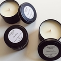 Sweet Lemongrass Scented 100% soy wax travel tin candle. 4oz, 92g, small, black
