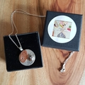 Boulder opal silver  round pendant, necklace, textured, hand stamped