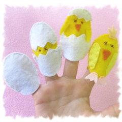 Easter Egg and Chick set of 4 Finger Puppets
