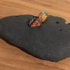 Wings- Orange, crinkled dichroic fused Glass Stud Earrings