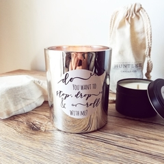 Large Silver Electroplated Scented Soy Candle, Pun Label