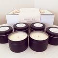 Soy candle gift pack. 6 scented 100% soy wax travel tin candles for 10% off.