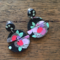 Midnight Bloom, Polymer clay Statement dangles