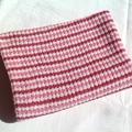 Pink, Rose Pink and Cream Pure Australian Merino Wool Knitted Baby Pram Blanket.