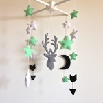 Felt baby crib mobile, stag and stars