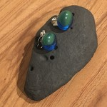 Green and transparent blue fused glass clip on earrings