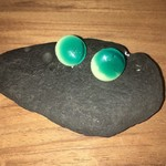 Green And Cream Round Fused fused Glass Stud Earrings