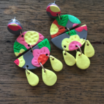 Bright floral, Polymer clay Statement dangles