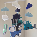 Felt baby crib mobile, trucks and dreamy clouds
