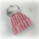Newborn Dusty Rose Ribbed Crocheted Baby Beanie with Faux Fur Pompom