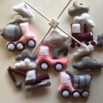 Trucks and clouds, baby crib felt mobile