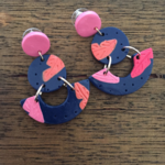 Bright leaves, Polymer clay Statement dangles