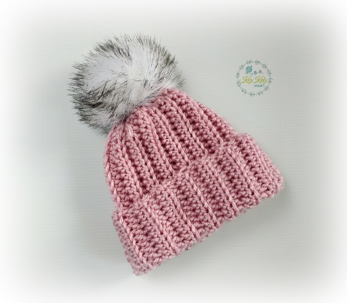 Newborn Dusty Rose Ribbed Crocheted Baby Beanie with Faux Fur ... 31a6d977095f