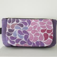 Purple magic clutch - cork leather and wrap scrap