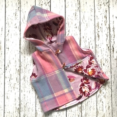 Upcycled pink and purple wool vest with floral lining fits size 3 - size 5