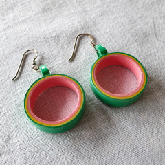Paper Earrings - Green, Yellow, Pink - Annulus