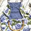Blue floral hydrangea handbag - travel bag - tote bag - beach bag - grocery bag