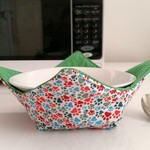 Hot Bowl Cozy | Hot Bowl Holder | Paws ~ Green Spots | Reversible