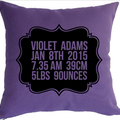 BABY emblem birth announcement pillow for New Borns and 1st birthday