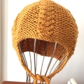 Child's Beanie Hat, Hand-Knit, Child, Wool, Gold Bronze