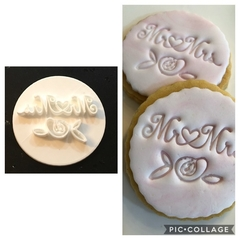 Mr & Mrs fondant embosser, wedding favour, cookie stamp