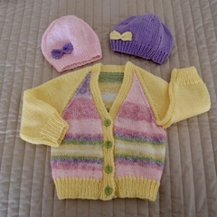 3-9mths - Hand knitted cardigan : unisex, washable, OOAK