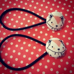 Hairband / Elastic - 'Woodland Foxes' fabric covered button (19mm)
