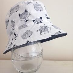 Boys summer hat in White woodland animals fabric