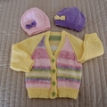 3-9mths - Hand knitted cardigan : unisex, washable, OOAK