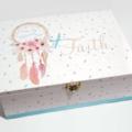 Pastel Feather Dreamcatcher Keepsake, Baby, Trinket, Wooden, Jewellery Box