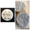 Bride Groom fondant embosser, wedding favour, cookie stamp