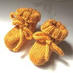 3-6m Baby Booties Shoes, Gold , Wool, Hand Knit
