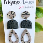 Gorgeous Leopard -brown-beige and black  handmade polymer clay drop earrings