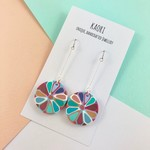 Polymer clay earrings, statement drop earrings in turquoise floral