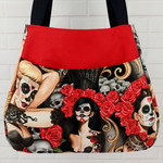 Zombie Tattoo Gothic Black and Red Shoulder Tote Bag