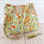 Fox Forest Friends Nappy Diaper Tote Bag with matching  Key Fob Wrist Strap