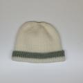 Baby Knitted Hat; Cream and Pale Green - Pure Australian Merino wool.
