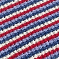 Blue, Navy, Red and Cream Pure Australian Merino Wool Knitted Baby Pram Blanket.