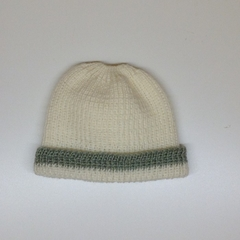 Baby Knitted Hat; Cream and Pale Green - Pure Australian Merino wool.