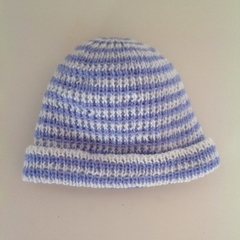 Baby Knitted Hat; Cream and Mid Blue Stripe - Pure Australian Merino wool.