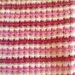 Pink, Rose Pink and Cream Pure Australian Merino Wool Knitted Baby Pram Blanket.