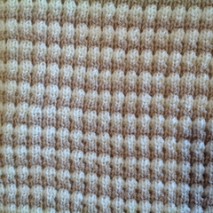 Beige and Cream Pure Australian Merino Wool Knitted Baby Pram Blanket.