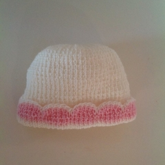 Baby Girl's Knitted Hat; Cream and Pink - Pure Australian Merino wool.