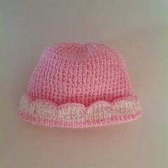 Baby Girl's Knitted Hat; Pink and Cream - Pure Australian Merino wool.