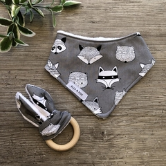Baby Gift Set - Dribble Bib & Teether - Woodland Animals Grey - Girl Boy Unisex