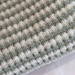 Pale Green and Cream Pure Australian Merino Wool Knitted Baby Pram Blanket.