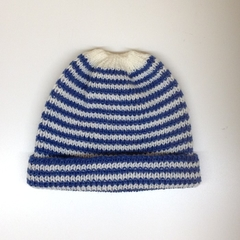 Baby Knitted Hat; Cream and Navy Blue Stripe - Pure Australian Merino wool.