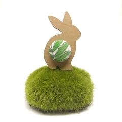 Bunny Brooch - Green Leaf