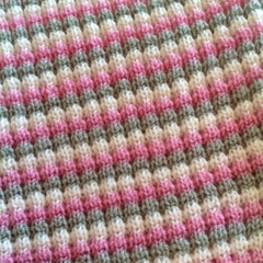 Pale Green, Pink and Cream  Australian Merino Wool Knitted Baby Pram Blanket.