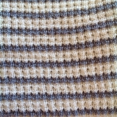 Pale Grey and Cream Pure Australian Merino Wool Knitted Baby Pram Blanket.